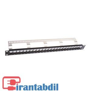 خرید عمده پچ پنل 24 پورت cat6 STP/UTP بدون کیستون مارک کی نت,قابلیت نصب کیستون های معمولی وشیلدار, فروش عمده پچ پنل