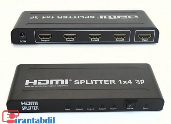 خرید عمده اسپلیتر یک به چهار  HDMI 4K دی نت,فروش همکاری اسپلیتر یک به 4 اچ دی ام ای دی نت,اسپلیتر جهار پورت اچ دی ام ای فورکی