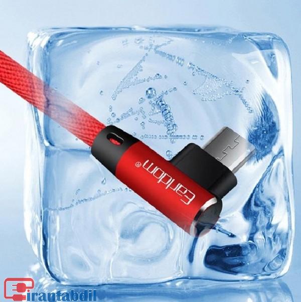 کابل شارژ گوشی اندرویدی قرمز رنگ,کابل سر چپقی گوشی ارلدوم مدل 017, خرید عمده کابل شارژ گوشی ارلدوم 017 اندروید