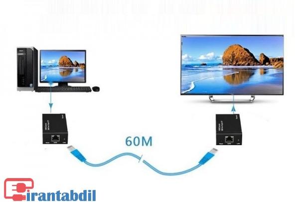 نحوه کار اکستندر HDMI,دستگاه افزایش طول HDMI 60 متری,انتقال تصویر از شبکه