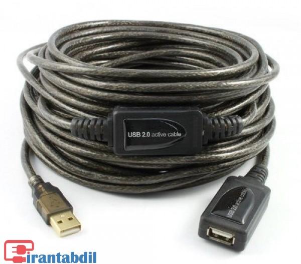 کابل افزایش طول یو اس بی برددار,کابل افزایش شیلددار یو اس بی,کابل USB افزایش 10 متری